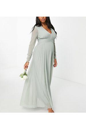 ASOS ASOS DESIGN Maternity - Brudepiger - Langærmet maxikjole med rynket talje og plisseret nederdel i olivengrøn