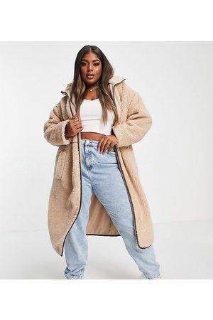 ASOS Curve ASOS DESIGN Curve - Kamelbrun frakke med kontrastsømme i fleece-Hvid