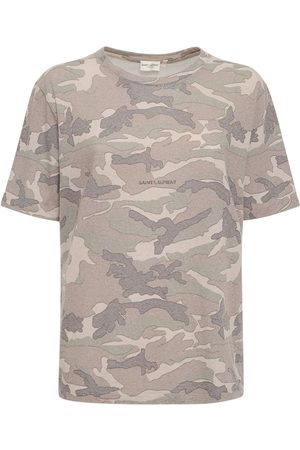 SAINT LAURENT Kvinder Kortærmede - Camouflage Print Round Neck T-shirt