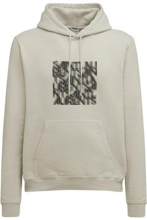 SAINT LAURENT Illusion Print Cotton Sweatshirt Hoodie