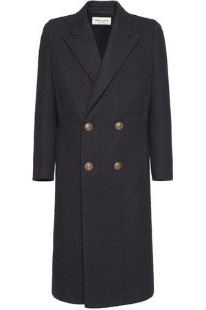 SAINT LAURENT Double Breast Wool & Mohair Long Coat