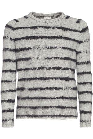 SAINT LAURENT Mænd Strik - Striped Wool Blend Knit Sweater