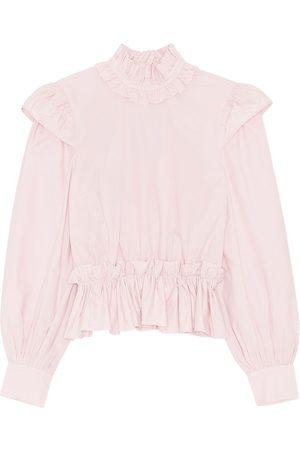 GANNI Organic Cotton Poplin Cropped Shirt