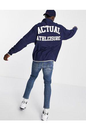 ASOS Actual Mænd Sweatshirts - Oversized sweatshirt i polarfleece med trykknapper og print på bryst og ryg i marineblå