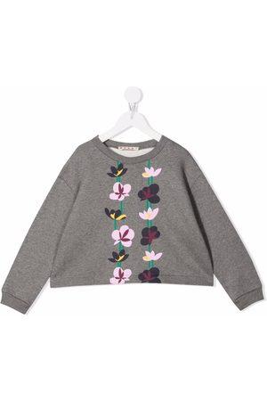 Marni Kids Piger Sweatshirts - Sweatshirt med rund hals og blomstertryk