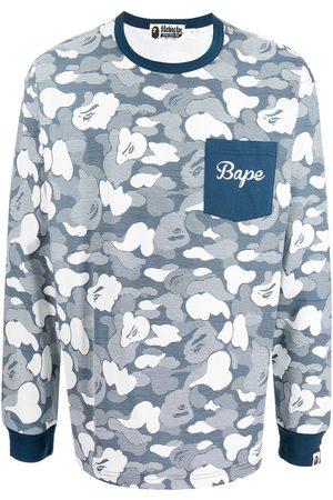 A BATHING APE® Langærmet top med haj- og kamuflagetryk