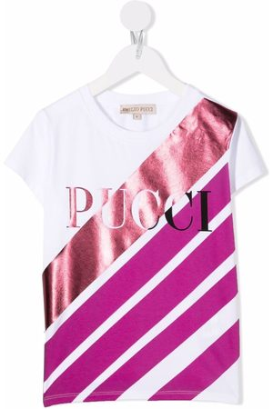 Emilio Pucci Junior Piger Kortærmede - Logo stripe print T-shirt