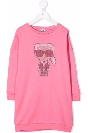 Karl Lagerfeld Piger Kortærmede - Rhinestone logo T-shirt dress