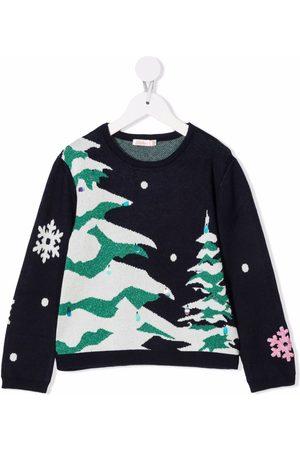 Billieblush Piger Strik - Christmas intarsia knit jumper