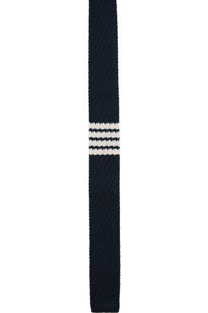 Thom Browne Navy Silk Knit 4-Bar Tie