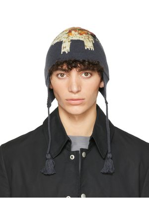 Undercover Navy Wool Jacquard Beanie