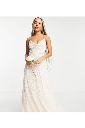 Starlet Brudepiger - Udsmykket midaxi-kjole med vandfaldsudskæring og pailletter og imiterede perler-Hvid