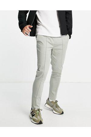 ASOS Grå skinny-chinos med pintucks og elastisk talje