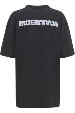 BALENCIAGA Embroidered Logo Cotton Jersey T-shirt