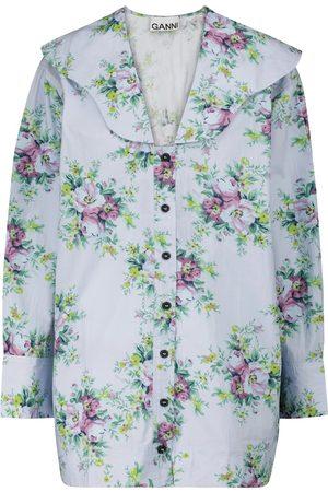 GANNI Kvinder Bluser - Floral cotton poplin blouse