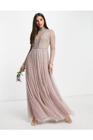 ASOS Brudepiger - Maxikjole med perleudsmykket kjoleliv og nederdel i tyl-Multifarvet