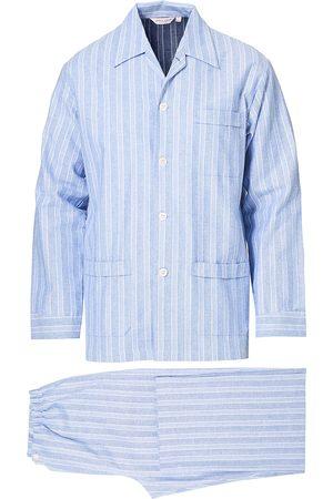 DEREK ROSE Mænd Pyjamas - Brushed Cotton Flanell Striped Pyjama Set Blue