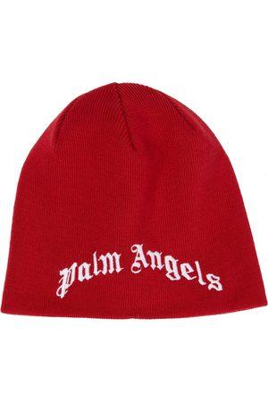 Palm Angels Kids Drenge Huer - Embroidered logo wool beanie