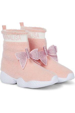 MONNALISA Embellished high-top sock sneakers