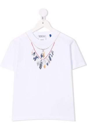 Marcelo Burlon County Of Milan Kids DOUBLE CHAIN FEATHER TEE S/S WHITE BLUE