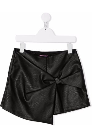 Pinko Kids Leather-effect bow-detail shorts
