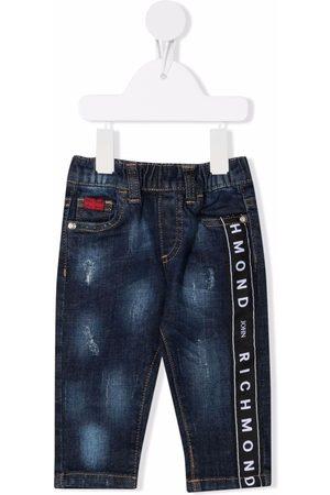John Richmond Junior Jeans med slitageeffekt og logobånd
