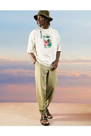 ASOS Lysegrønne oversized tapered joggingbukser i seersucker-stof