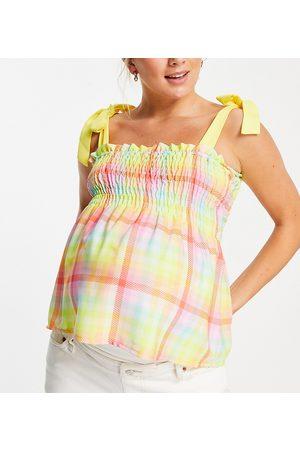 Twisted Wunder Maternity Multifarvet ternet smock-top med kontrastfarvede bindestropper