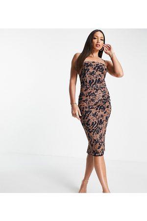 NaaNaa Tall Beige bodycon-kjole med oneshoulder-detalje og print-Neutral