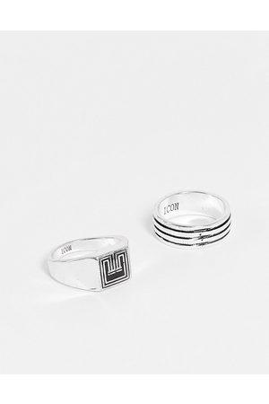 Icon Brand Pakke med 2 dekorerede ringe i
