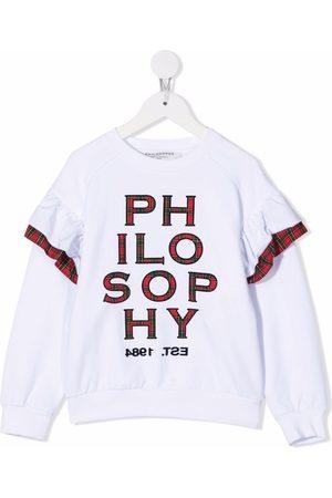 Philosophy Di Lorenzo Serafini Kids Piger Sweatshirts - Tartan check appliqué-logo sweatshirt