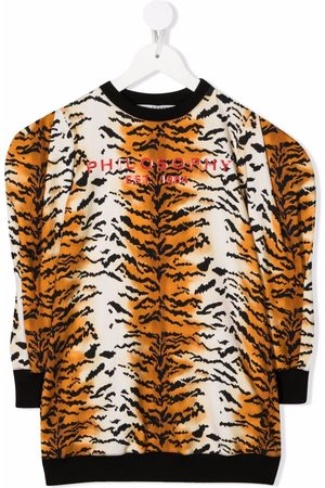 Philosophy Di Lorenzo Serafini Kids Piger Kjoler - Tiger-stripe logo jumper dress