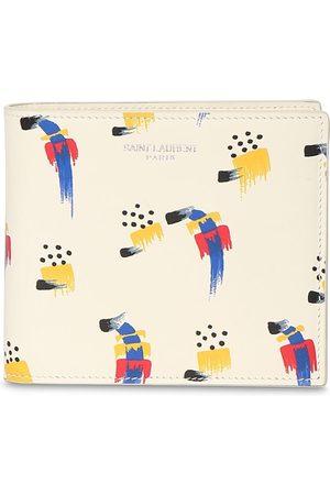 SAINT LAURENT Stroke Print Leather Wallet