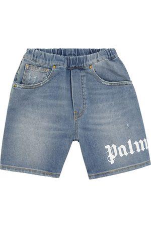 Palm Angels Kids Logo distressed denim shorts
