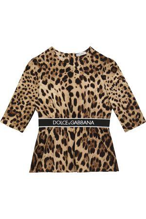 Dolce & Gabbana Kids Leopard-printed stretch-silk top