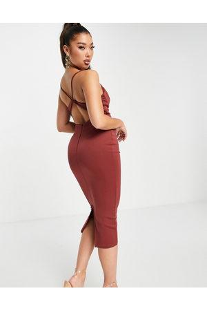 ASOS Kvinder Bodycon kjoler - Chokoladebrun pencil-midikjole i bodycon-design med vandfaldsudskæring og stropper på ryggen-Multifarvet
