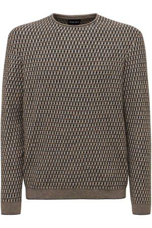 GIORGIO ARMANI Virgin Wool Blend Jacquard Knit Sweater