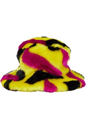 VERSACE La Greca printed faux fur hat