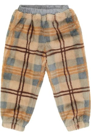 paade mode Checked faux fur sweatpants