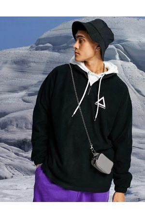 ASOS Oversized sweatshirt i polar-fleece med logoprint og halv lynlås
