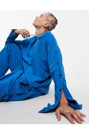 ASOS Oversized, blå sweatshirt med trykknapper - Del af sæt