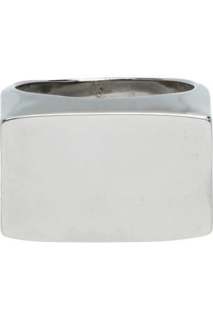 DRIES VAN NOTEN Silver Rectangle Flat Top Ring