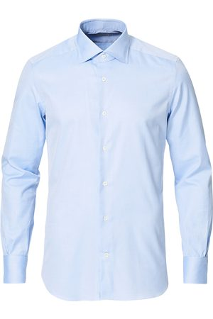 MAZZARELLI Mænd Langærmede skjorter - Soft Cotton Cut Away Shirt Light Blue