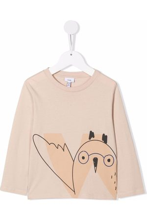 KNOT Drenge Langærmede - Langærmet T-shirt i økologisk bomuld med ugletryk