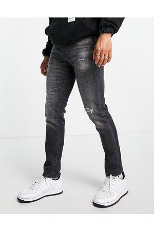 JACK & JONES Mænd Slim - Intelligence - Glenn - Vasket grå superstretch-jeans i smal tapered
