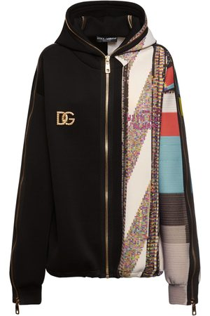 Dolce & Gabbana Kvinder Sweatshirts - Jersey Printed Zip Up Logo Hoodie