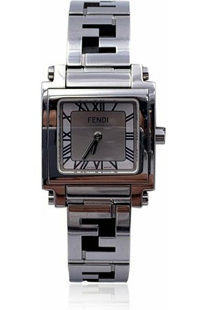 Fendi Pre-owned Stainless Steel 6000 L Logo Wrist Watch Silver Dial