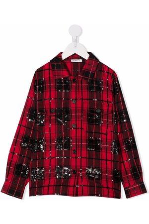 P.a.r.o.s.h. Piger Langærmede skjorter - Ternet skjorte med pailletter
