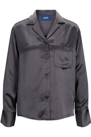 JACK & JONES Mænd Langærmede skjorter - Jxeva Satin Skjorte Kvinder Brown; Grey