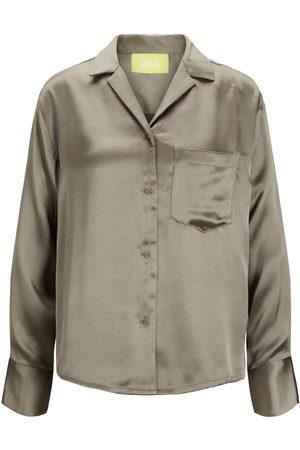 JACK & JONES Mænd Langærmede skjorter - Jxeva Satin Skjorte Kvinder ; Brown